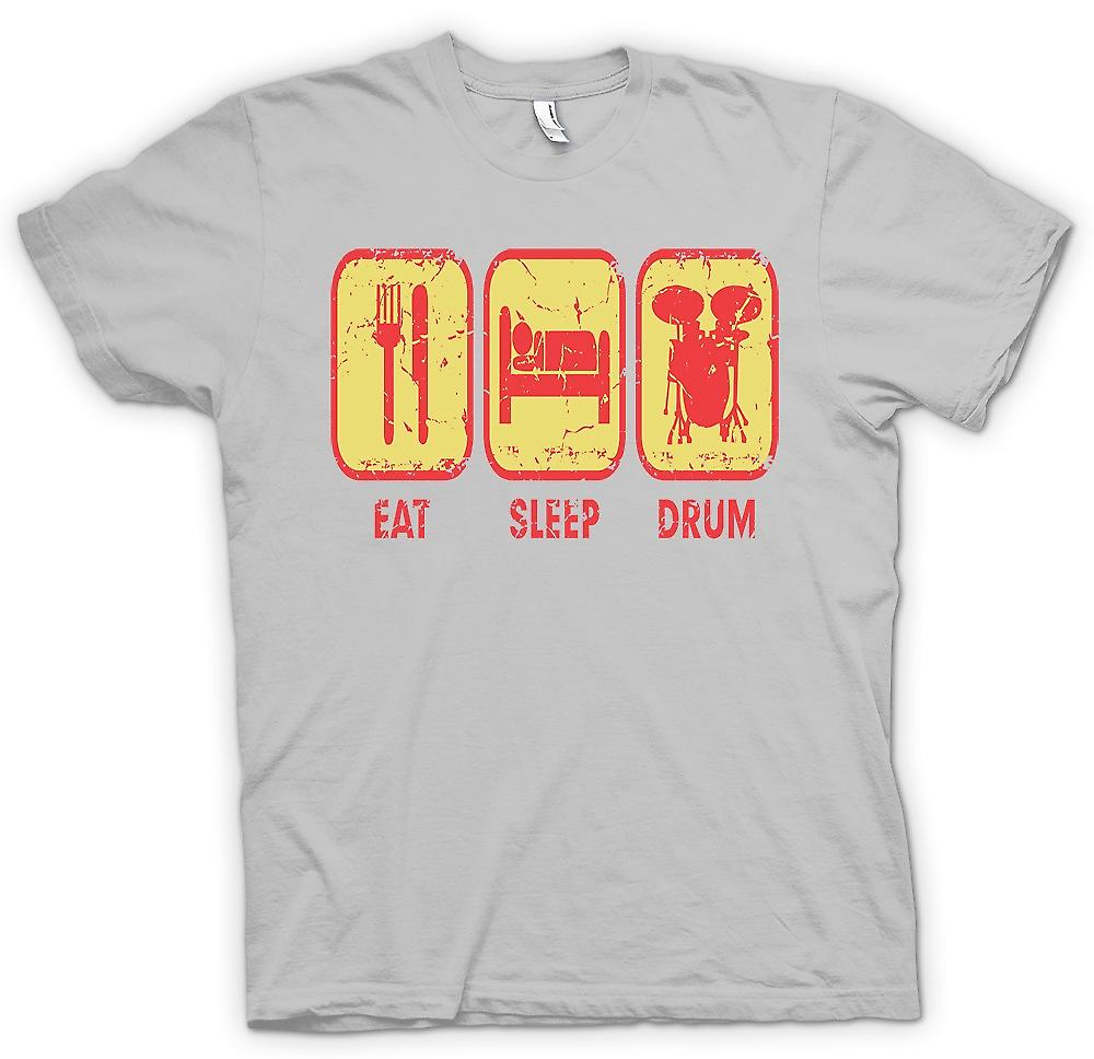 Heren T-shirt - eten slaap Drum - Cool Drummer