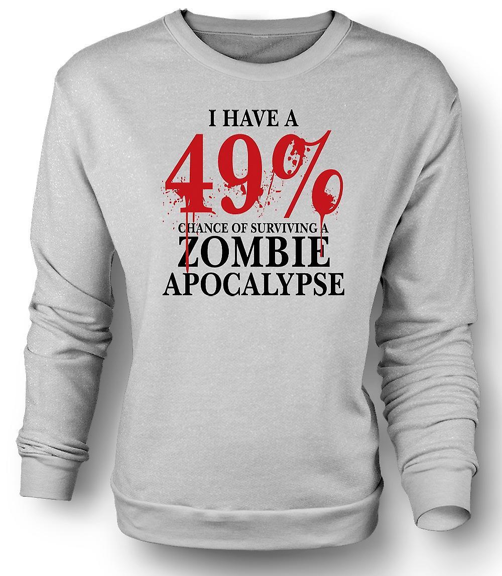 Sudadera para hombre Zombie Apocalypse 49% - Horror divertido
