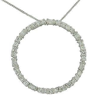 TOC Sterling Silver Clear Rhinestone Set Open Circle Pendant Necklace 18