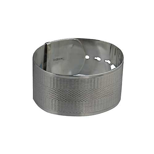 Silver 30mm wide engine turned Buckle Bangle