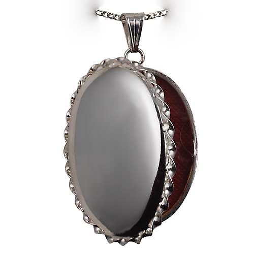 Silver 37x28mm plain twisted wire edge oval Locket with a curb Chain 22 inches
