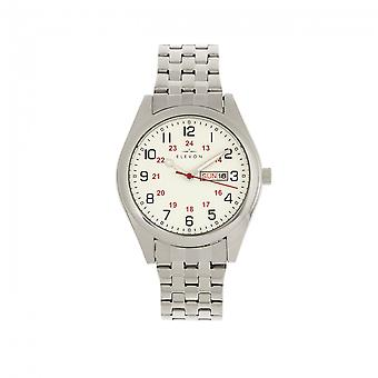 Elevon Gann Bracelet Watch w/Day/Date - Silver/White