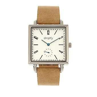 Simplify The 5000 Leather-Band Watch - Khaki/White