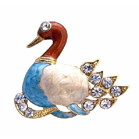 Gold Plated Colorful Duckling Decorated with Cubic Zircon Brooch