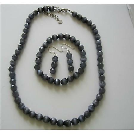 Sterling Silver 8mm Black Cats Eye Stone Bead Beaded Dangle Hook Earrings Stretch Bracelet Necklace Jewelry Set
