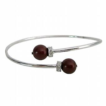 Inspired Design Wine Color Pearls Silver Cuff Bracelet Superb Price
