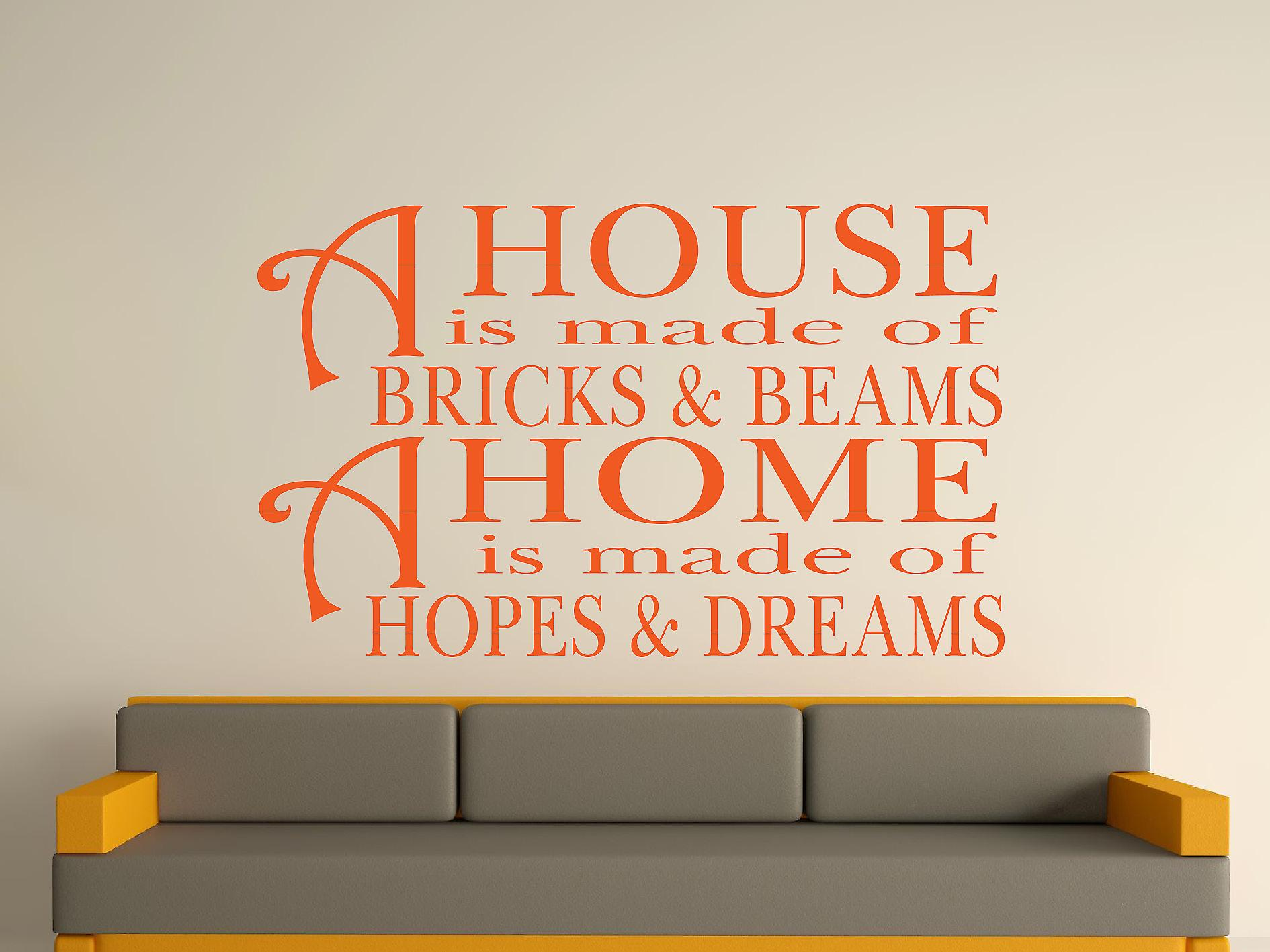 A House Is Made Of Bricks And Beams v2 Wall Art Sticker - Orange