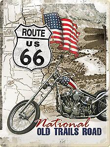 Route 66 Old Trails Road weathered embossed large metal sign  (NA3040)