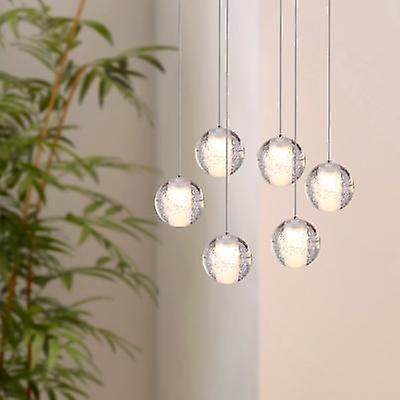 Salle à hommeger moderne Nickel pendentif lumière plafond lampe éclairage 6 pendentif ovale couvert