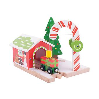 Bigjigs Rail Wooden Candy Crane Christmas Train Railway Accessory Seasonal