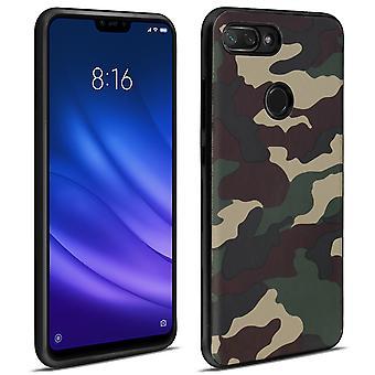 Xiaomi Mi 8 Lite Case Bimaterial Shockproof Reinforced Corners Green camouflage