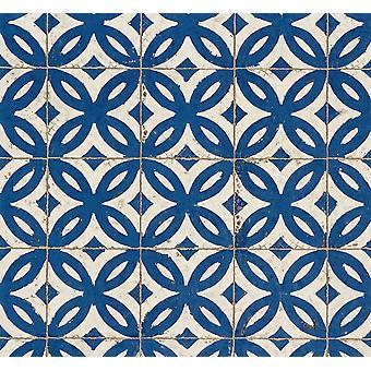 Blauwe witte tegel effect wallpaper realistische Vintage abstract bloemen pasta muur