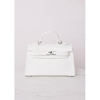 Faux Leather Mini Tote Bag White