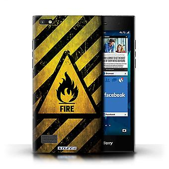 STUFF4 Case/Cover for Blackberry Leap/Fire/Flammable/Hazard Warning Signs