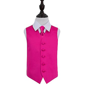 Boy's Hot Pink Plain Satin Wedding Waistcoat & Tie Set