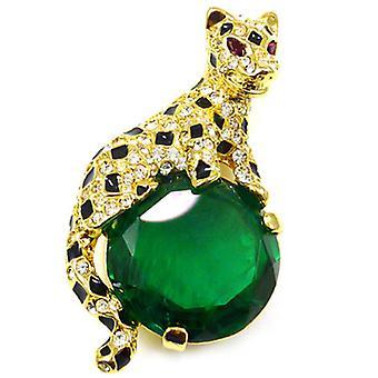 Kenneth Jay Lane store Emerald & krystall Tiger brosje Pin