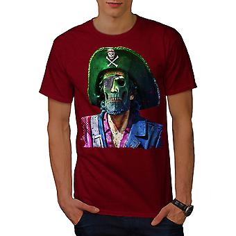 Pirate Skull Metal Funny Men Red T-shirt | Wellcoda
