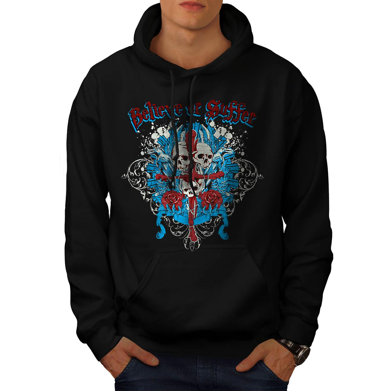Believe Suffer Skull Cross Bones Men Black Hoodie | Wellcoda