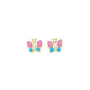 14k Yellow Gold Butterfly Childrens Stud Enamel Earrings