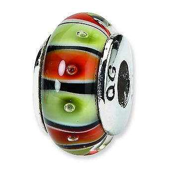 Ster. Silver Reflections Red Yellow Murano Glass Bead Charm