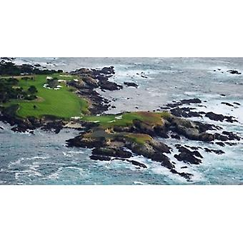 Campo de golf en un isla Pebble Beach Golf enlaces guijarro playa Monterey Condado California USA cartel impresión por imágenes panorámicas (42 x 22)