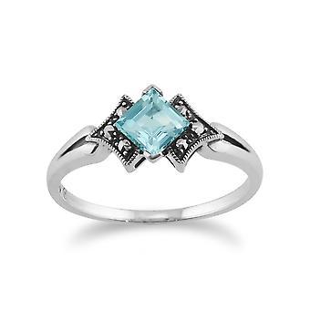 925 Sterling Silver Art Deco Topaz & Marcasite anello