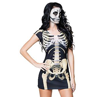 Halloween Ladies Skeleton Dress Fancy Dress Costume