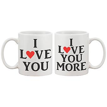 I Love You Matching Coffee Mugs - Perfect Wedding, Engagement, Anniversary, and Valentines Day Gift for Couples