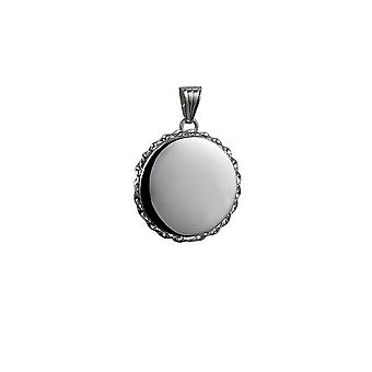 Silver 25mm plain twisted wire edge flat round Locket