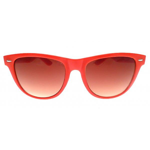 W.A.T Oversized Bright Red Neon Retro Wayfarer Style Sunglasses