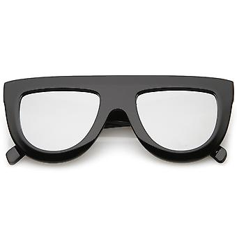 Oversize Chunky Wide Arms Colored Mirrror Flat Lens Flat Top Sunglasses 51mm