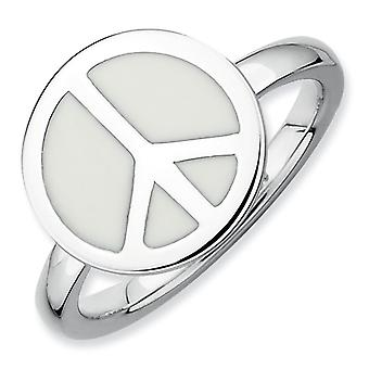 Sterling Silver Stackable Expressions Polished White Enameled Peace Sign Ri - Length: 5 to 10