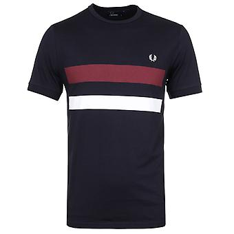 Fred Perry Navy Bold Print Crew Neck T-Shirt
