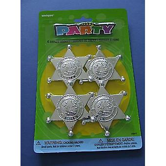 4 Sheriff Badge Plastic Party Bag Fillers for Children