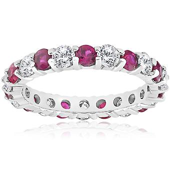 2 ct Ruby & Diamond Eternity Ring 14K White Gold Womens Stackable Wedding Band