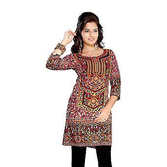 Rosso 3/4 sleeve indiano stampato Kurti tunica donne Kurta