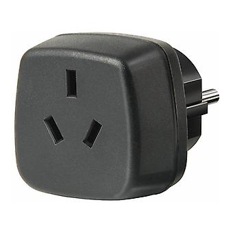 Brennenstuhl travel adapter, AU/Asia to the EU, grounded, black
