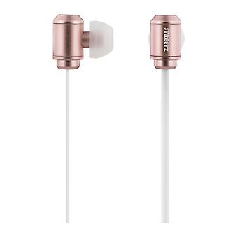 STREETZ stereo headset, in-ear, mick with volume, dual drivers, rose gold