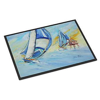 Sailboats and Middle Bay Lighthouse Indoor or Outdoor Mat 18x27