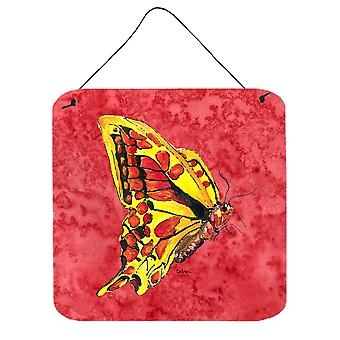 Butterfly on Red Aluminium Metal Wall or Door Hanging Prints