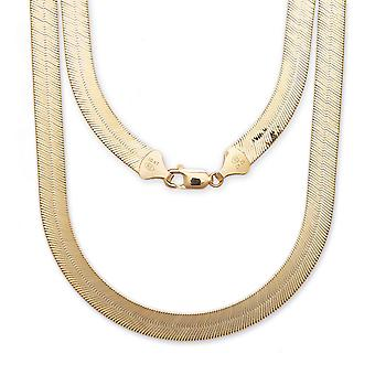 "10k Yellow Gold Super Flexible Silky Herringbone Chain Necklace , 0.5"" (12mm)"