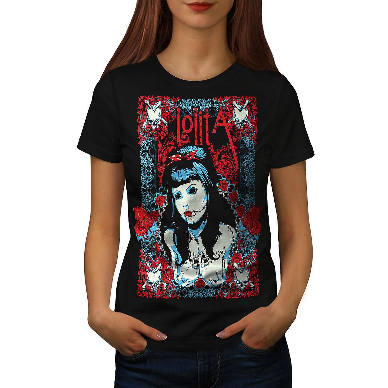 Lolita Sexy Dead Gangster Women Black T-shirt | Wellcoda