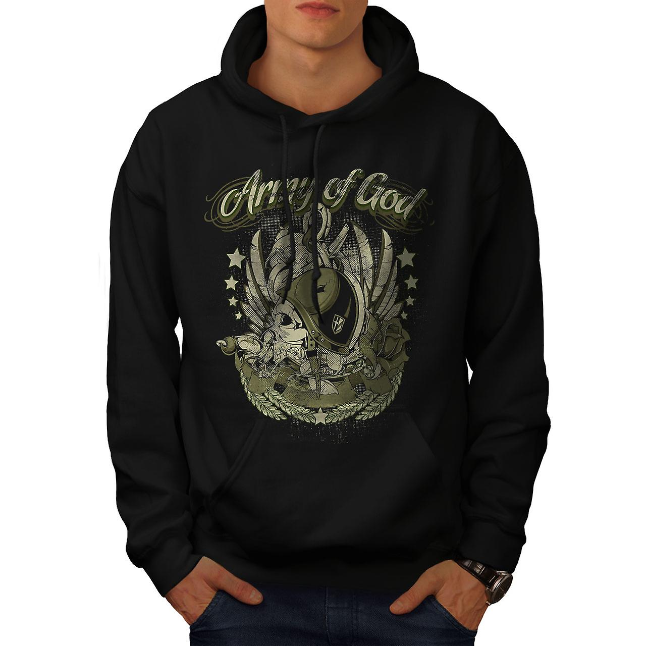 Army Of God Pilot Skull Men Black Hoodie | Wellcoda