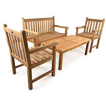 BrackenStyle Warwick Bench Teak Coffee Table Set