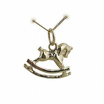9ct Gold 12x17mm Rocking Horse Pendant with a curb Chain 16 inches Only Suitable for Children