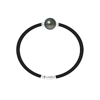 Man Neoprene bracelet, Pearl of Tahiti and Silver 925