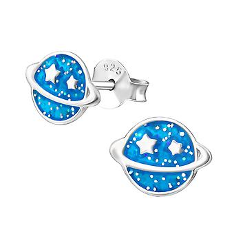 Saturn Planet - 925 Sterling Silver Colourful Ear Studs - W35142x