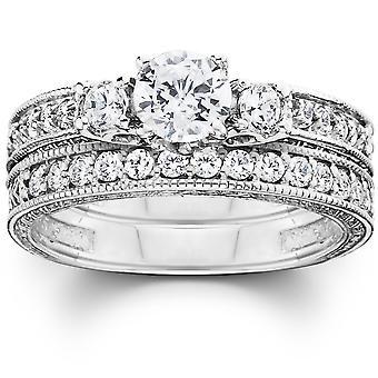 1 1/4ct Vintage Diamond Engagement Wedding Ring Set 14K