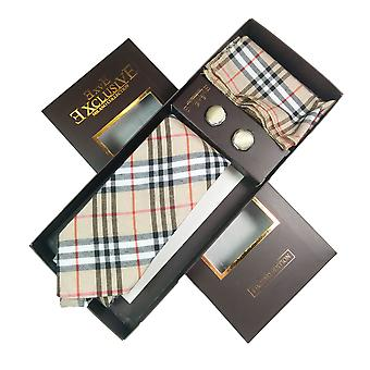 Tie, Cufflink & Hankerchief Set Exlusive Milan Collection 100% Hand Made Cream With Black ,Red & White Check Pattern