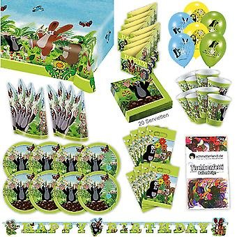 La pequeña fiesta de Mole set XL 77-piezas para 8 personas paquete pequeño topo decoración